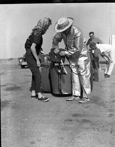 N730 1960'S NEGATIVE...DRAG RACING NHRA,FIXING DRAGSTER'S PARACHUTE IN FONTANA