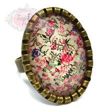 Vintage de patrón floral Facetado Cameo Anillos. Base Ajustable Flor