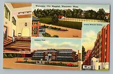 Worcester Massachusetts Ma City Hospital Multi-View Postcard 1951