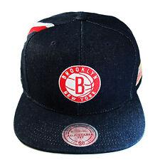 Mitchell & Ness NBA Brooklyn Nets Snapback Hat Blue Denim with USA Frag Patch