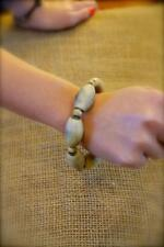 Natural Grain Wood Bead Elasticated Bracelet Light Brown Fair Trade Jewellery
