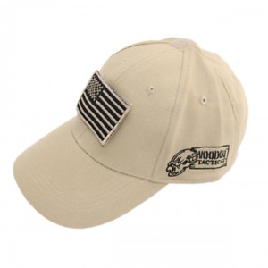 Contractor Hat with Removable Flag Patch Tan/ Sand Color Voodoo Tactical