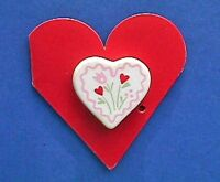 Hallmark PIN Valentines Vintage HEART CERAMIC FLOWERS Holiday Brooch NEW