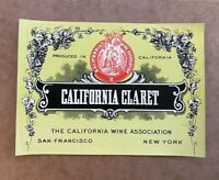 Vintage California Claret Label Wine Association San Francisco New York