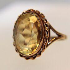 Vintage Large Citrine 9ct Yellow Rose Gold ring size N ~ US 6 3/4