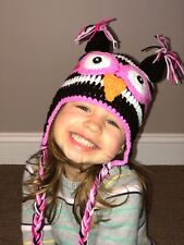 HANDMADE CROCHET KNIT HAT FOR BABIES-PINK/BROWN/HOT PINK OWL-MEDIUM 6-12 MONTHS