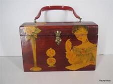 Vintage Box Purse 1950s-60s Burgundy Wine Decoupage Wood Lucite Handle EUC