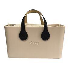 O bag City Beige Rubber Box Style Handbag Medium Brown Embossed Handles NEW