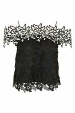 Brand New with Tag Topshop Off the Shoulder Black and White Lace Top Size UK 6