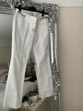 EX MICHAEL KORS WHITE CHAIN WAIST TROUSERS STRETCH FIT US 8 UK 12