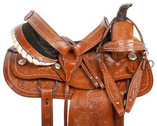 15 CHESTNUT WESTERN SILVER STUDDED RANCH ROPING LEATHER HORSE SADDLE TACK SET