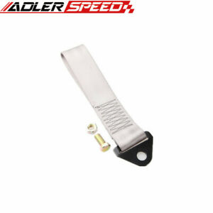 Silver High Strength Racing Tow Strap Fit for Front/Rear Bumper Hook Truck/SUV