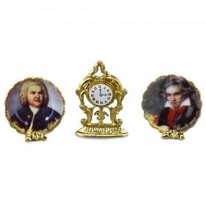Fireplace Decorations - Clock and Composer Plates by Reutter Porcelain