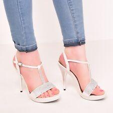 Ladies Womens Platform Diamante Wedding Bridemaides Prom Party Ivory Shoes Size