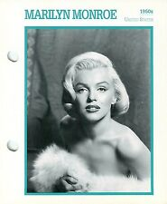 """Marilyn Monroe 1950 Actress Movie Star Card Photo Front Biography on Back 6 x 7"""""""