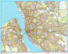 A - Z STREET MAP OF LIVERPOOL - FLAT MAP - LIVERPOOL WALL MAP.  LAMINATED EDN