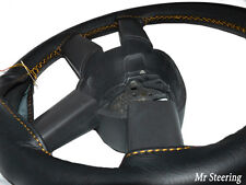 FOR MERCEDES SPRINTER MK1 95-03 BLACK LEATHER STEERING WHEEL COVER GOLD STITCH