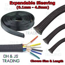 Expandable Sleeving Black Braided Sleeving Cable Tidy Wire Flexible Polyester