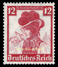EBS Germany 1935 Nothilfe - Regional Costumes - 12+6 Pfennig - Michel 593 MNG