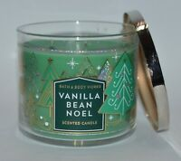 NEW BATH & BODY WORKS VANILLA BEAN NOEL SCENTED CANDLE 3 WICK 14.5OZ LARGE GREEN
