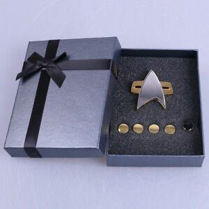 Star Trek Badge Voyager Communicator Pin Brooch & Rank Pips Prop Set Of 6