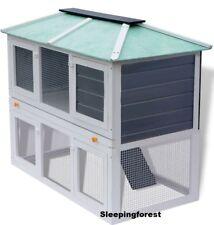 Outdoor Rabbit Hutch Double Decker Guinea Pig Cage 2 Store Pet Ramp Den Indoor