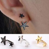 1 paire Boucle d'oreille acier inox Clous doubles étoiles Puces Noir Earing