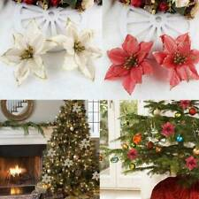 10 Glitter Christmas Flowers Wedding Party Xmas Tree Ornaments Hanging Decor