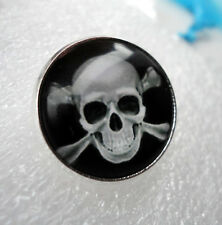 ZP01j Unusual Domed Skull and Bones Pin Badge Brooch Cabochon Biker Pirate