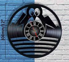 Cute Penguin Vinyl Record Wall Clock Home Room Decor Bedroom Decoration Gift Art
