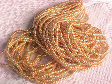 Vtg 1 HANK LIGHT WASH GOLD GLASS CHARLOTTE TINY BEADS 13/0 CZECH #072711z