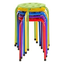 Small Stools Round Metal Plastic Stacking 5 Pack Kid Classroom Set Desk Portable