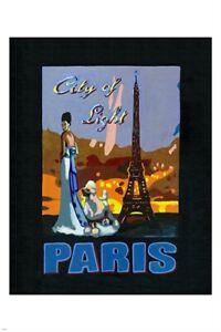 paris - city of light VINTAGE TRAVEL POSTER eiffel tower POODLE 24X36 rare