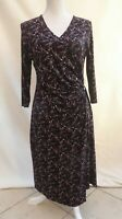 Marks & Spencer Collection black mix stretch jersey 3/4 sleeve dress Size 14