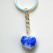 Love Heart Keyring Blue & White Ceramic Handbag Charm Thank You Keepsake LB129