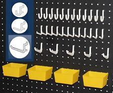 43 PC. Pegboard Kit - Plastic Bins & Pegs - Tool Storage - Garage Wall Organizer