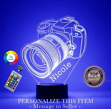 Camera LED Acrylic Night Light - Personalized Free, Custom Gift, With remote