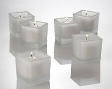 50 Square Frosted Glass Wedding Table Centrepiece Decoration White Wax Candle