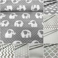 Cotton Fabric Grey White 100% cotton New Patterns, wide roll 160cm 64'' #craft