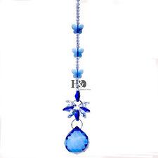 Crystal Suncatcher Blue Ball Prism Butterfly Handmade Pendant Wedding Decor Gift