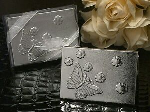 Silver Finish Butterfly Design Compact Mirror Wedding Bridal Shower Favors
