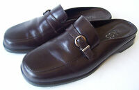 BASS MULES SLIP ON 5 M WOMENS BROWN LEATHER SHOES SIZE