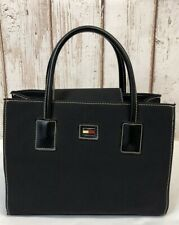 Vintage 90's Tommy Hilfiger Black Nylon Leather Straps Handbag Purse #Q