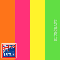 50 pack x Premium Fluorescent Blank Postcards 260gsm - Yellow Orange Green Pink