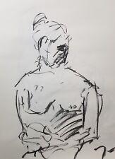 "JOSE TRUJILLO - Original Charcoal on Paper Sketch Drawing 18X24"" ABSTRACT STUDY"