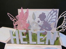 Handmade  3D  Birthday Card in a box -Fairies 2, PERSONALISED