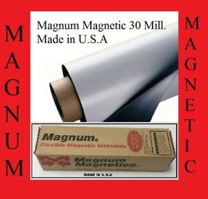 """24"""" width x 25 Feet ROLL 30 Mil Blank Magnetic Sign Sheet Magnum USA Cars strong"""
