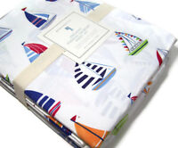 Pottery Barn Kids Multi Colors Organic Cotton Hudson Sail Boat Full Sheet Set