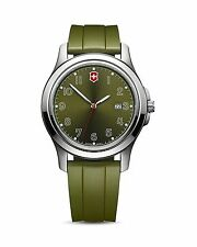 Victorinox Swiss Army Garrison Date Watch Military Green Dial and Rubber Spor...
