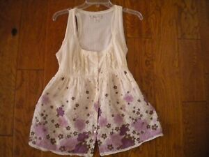 Decree Size Large Baby Doll Ivory Purple Floral Sleeveless Juniors Top